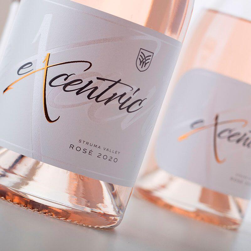 excentric Rose wine label